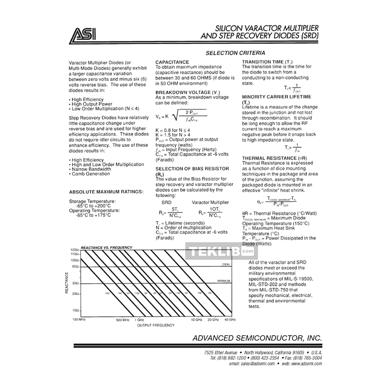 AS42D Advanced Semiconductor Step Recovery Diode Data Sheet