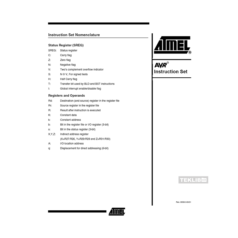 0856c Atmel Avr Instruction Set Data Sheet