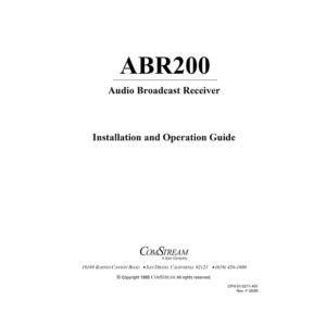 ComStream ABR200 Digital Audio Broadcast Receiver Installation / Operation Guide