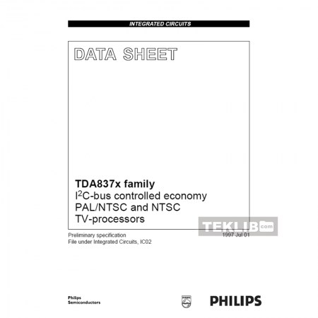 TDA8374B Philips I2C-bus controlled PAL TV-processor Data Sheet