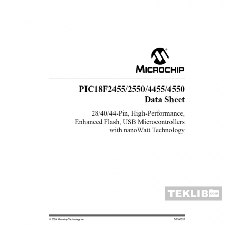 PIC18LF2455 Microchip 28-Pin High-Performance Enhanced Flash Low-voltage USB Microcontroller Data Sheet