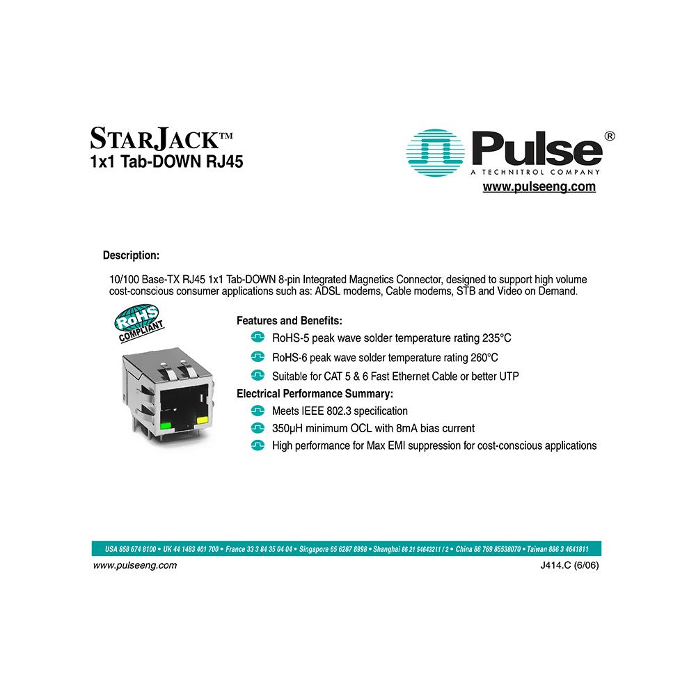 J00-0025NL Pulse 10 Base-T RJ45 8-pin Integrated Magnetics Connector Data Sheet
